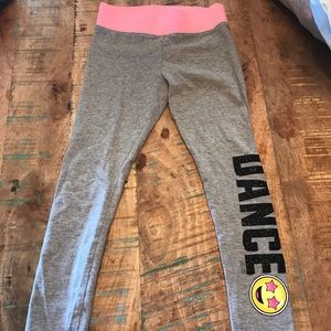 "Justice Gray & Pink ""Dance"" Emoji Leggings"
